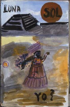 LUNA, SOL, YO? [Moon, Sun, I?]. Page 115 from the Frida Kahlo diaries, 1944-1954, Watercolor