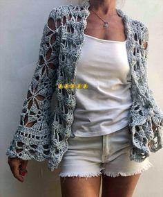 Saco PENELOPE Crochet Shrug Pattern, Granny Square Crochet Pattern, Crochet Jacket, Crochet Cardigan, Knit Crochet, Crochet Woman, Crochet Fashion, Beautiful Crochet, Knitting Designs