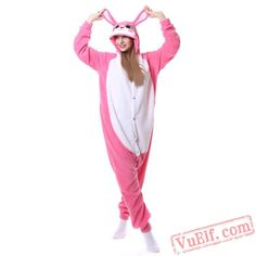 Pink Rabbit Onesie Costume Adult Animal Kigurumi Pajamas 7bc01530e