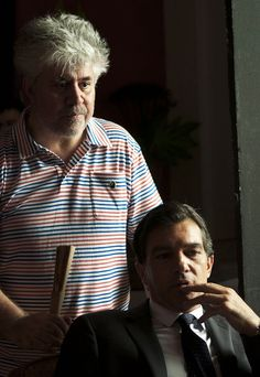 Pedro Almodovar & Antonio Banderas on the set of La Piel que Habito