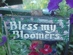 Creative Garden Signs – Dress up your yard. Bless my bloomers Garden sign. see more garden signs. Garden Crafts, Garden Projects, Garden Ideas, Garden Fun, Garden Whimsy, Garden Gate, Garden Balls, Garden Doors, Fruit Garden