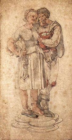 Albrecht Dürer (German, Northern Renaissance, Amorous Peasants, c. Albrecht Dürer, High Renaissance, Landsknecht, Jan Van Eyck, Art Database, Italian Artist, A4 Poster, Old Master, Gouache