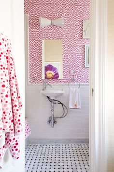 Pop of pink in the bathroom