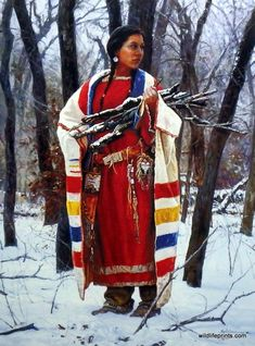 CHEYENNE WOOD GATHERER is another one of Martin Grelle's great Native American prints. This woman is so strong and stoic. The colors of her wardrobe are beautifully painted. This print is available in                                                                                                                                                                                 More