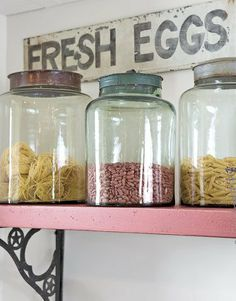 Dried Pasta Stored in Glass Jars