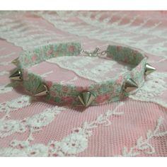 spiked pastel goth choker, nu goth,grunge, kawaii necklace, soft... ($13) ❤ liked on Polyvore featuring jewelry, necklaces, gothic jewelry, spiked choker necklace, gothic choker, floral necklace and goth jewelry