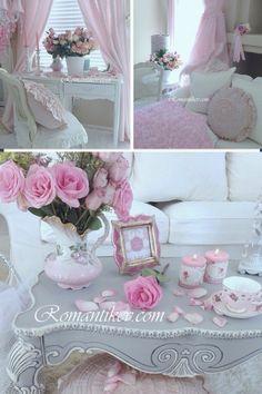 Pink perfection Shabby style Shabby chic pembe dekorasyon Romantik evim Shabby chic örtüler