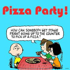 'Pizza Party!', Charlie Brown gets Stage Fight at the Pizza Counter.