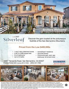 New Homes for Sale in San Bernardino, California  New Homes in Rosena Ranch Selling Fast – Brokers Welcome  http://www.drhorton.com/California/Inland-Empire/San-Bernardino/Silverleaf-at-Rosena-Ranch.aspx