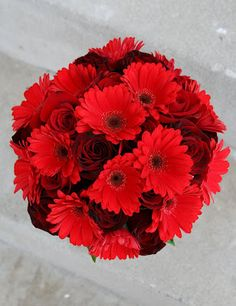 Red Gerberas wedding flower bouquet, bridal bouquet, wedding flowers, add pic source on comment and we will update it. www.myfloweraffair.com can create this beautiful wedding flower look.
