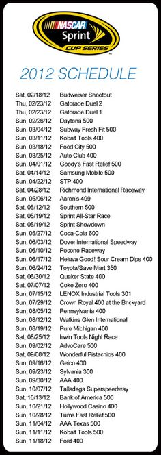 Pin this to keep the 2012 NASCAR Sprint Cup Series Race schedule at your fingertips! http://bit.ly/nschub