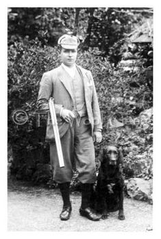 Historic photo notecard of a labrador retriever with owner.