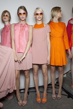 pale pink and orange