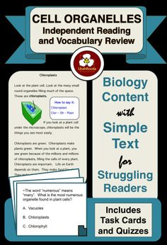 Created for use with students who need secondary level biology content but can't read secondary level text. It provides complete and accurate scientific information (written by a veteran science teacher), but is written at an upper elementary reading level. It's perfect for the special education teacher who is teaching outside of his or her content area, or for the regular educator who needs differentiated resources for struggling students.