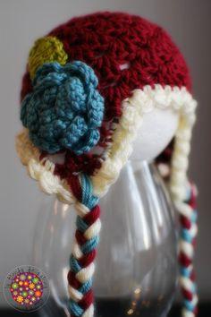 READY TO SHIP  Handmade crochet baby girl earflap hat by palomapch, $25.00