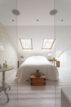 Clever design in this master bedroom maximises the use of space in the eaves of this loft conversion, glass partitions separate the ensuite from the master bedroom while keeping maintaining a feeling of openess. Bedroom Loft, Master Bedroom, Attic Rooms, Clever Design, Bedrooms, Interior Design, Cool Stuff, Space, Separate