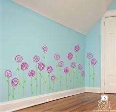 Wall Decals Doodle Flower Garden (set of 20) - Vinyl Wall Stickers Art