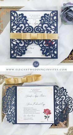 Navy blue beauty and the beast laser cut wedding invitation cards EWWS196