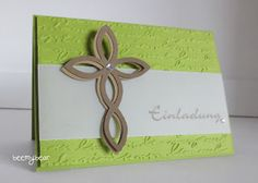 Stampin' Up! ... handmade confirmation invitation from stampin with beemybear ... acid green based with embossing folder script texture ... wide vellum band ... layered cross made using the trellis die cut ... unique look ...
