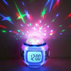 Buy Music Glowing Starry Star Sky Digital Led Watch Projection Projector Alarm Clock Calendar Thermometer Horloge Reloj Despertador at Wish - Shopping Made Fun Musical Night Light, Star Night Light, Star Sky, Night Lights, Projection Alarm Clock, Led Alarm Clock, Clock Timer, Night Light Projector, Projector Lamp