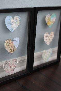 DIY Heart Map Decor. Cut out the cities you love in a heart shape and put them in an all glass frame. Ely/Babbitt, Hickory, St. Louis, FL Keys, Orlando/Disney World (cut out Mickey shape), Paramus/Hackensack