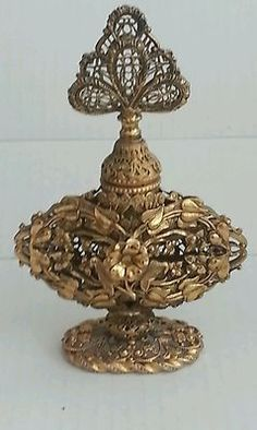 Antique Gold Brass Gilt Filigree Ormolu Perfume Bottle |