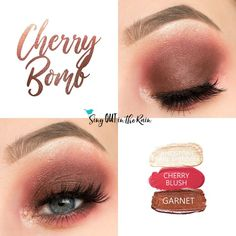 Cherry Bomb Eye Trio uses three SeneGence ShadowSense: Sandstone Pearl Shimmer shadowsense, Cherry Blush and Garnet Shadowsense.  These cream to powder eyeshadows will last ALL DAY on your eye.  #shadowsense #eyeshadow