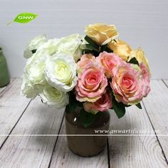 GNW FL-RS40-7-8CM Best choice Superior quality Artificial champagne Rose Flower for Party Decoration