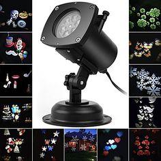 Weihnachten LED Effektlicht, LED Projektor Lichter mit 12 Motiven, dynamisch/statisch, 3 Stufen Geschwindigkeiten, innen/außen IP65 Led Projektor, 3, Halloween, Perennials, Inside Outside, Lights, Balcony, Wedding, Spooky Halloween