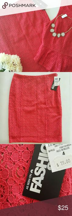 """NWT MACY'S   LACE SKIRT Feel fierce and feminine all in one in this sexy piece!  * Color: Red w/nude   Has pink overtones to it * Beautiful lace shell overlays a nude lining * Flat waistband * Hidden side zipper  * Matching top and pants listed separately  * Bodycon silhouette  * Runs one size small  Sz 4 -  L 21.5""""   W 28""""   H 36""""   Fits a 2 Sz 10 -  L 22""""   W 31""""   H 38""""   Fits an 8  Reasonable offers always considered. Over 175 items listed so bundle to save more! Fashion Star Skirts…"""