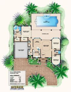 Florida Style House Plans - 1786 Square Foot Home, 1 Story, 3 Bedroom and 2 3 Bath, 2 Garage Stalls by Monster House Plans - Plan Florida House Plans, Pool House Plans, House Plans One Story, Dream House Plans, Small House Plans, Dream Houses, The Plan, How To Plan, Plan Plan