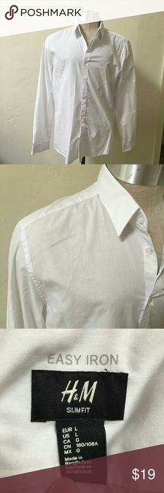 H&M white dress shirt easy iron large Used once dress shirt from H&M.  Thin, simple, but professional looking. H&M Shirts Dress Shirts