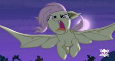 """Another screenshot from """"Bats!"""" Besides the season premiere this is one of my favorite episodes so far, Fluttershy is adorably evil as a vampire bat pony. Hope to see more Flutterbat in future episodes."""