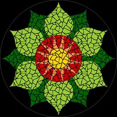 Completed Heart Chakra mosaic mandala kit created in ceramic tiles Design by Brett Campbell Mosaics Mosaic Wall, Mosaic Glass, Mosaic Tiles, Glass Art, Mosaics, Stained Glass, Tiling, Mosaic Crafts, Mosaic Projects