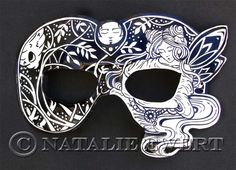 Midsummer Nights Dream Illustrated Leather Mask by dreamtrappings, $125.00