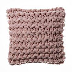 Chunky Knit Pearl Pink Cushion
