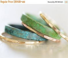 HOPPY EASTER SALE Stacking Rings / Patina Stacking Rings / Oxidized Rings / Green and Blue Stacking Rings / Rose Gold Stackable / Stack Ring by amywaltz #TrendingEtsy