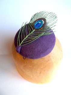 Sparkly Miss Peacock Button Cocktail Hat by ChefBizzaro on Etsy, $60.00