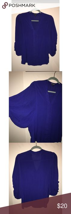Blue blouse Bell-armed blue blouse from Express, worn twice, size S. Perfect V plunge neckline that conservatively meets the top of the cleavage!Super comfortable and light. Express Tops Blouses