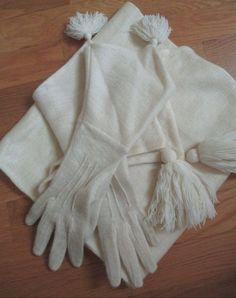 Vintage 1930s Art Deco White Knit Gauntlet Gloves Scarf Tassels #Outdoor