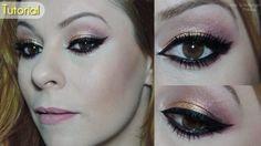 Tutorial de maquiagem dourada, rosa e preto com delineado bem marcado  Link: http://www.blogflordemulher.com.br/2015/07/tutorial-de-maquiagem-dourado-com.html
