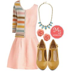 In this outfit; Convivial Brunch Dress, Haute Harmony Wedge, Coffee Shop Celebration Necklace, Retro Rosie Earrings, Charter School Cardigan #pastel #gingham #stripes