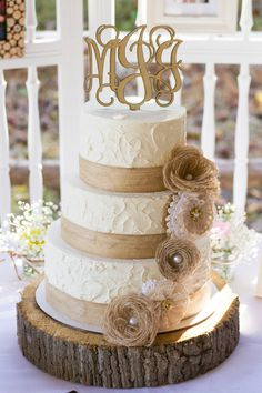 Rustic Burlap and Lace Wedding - Cake                              …