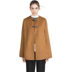 Pre-owned Zara New Tags Handmade Camel Caramel Wool Coat Jacket L Nwt... ($159) ❤ liked on Polyvore featuring outerwear, coats, caramel camel, cape coat, zara cape, woolen coat, caramel coat and wool coat