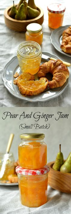 Pear and ginger jam - small batch, no added pectin. A lovely gift to give for Ch. - Pear and ginger jam – small batch, no added pectin. A lovely gift to give for Christmas! Pear Recipes, Jelly Recipes, Ginger Jam, Jam And Jelly, Canning Recipes, The Best, Pesto, Brunch, Sauces