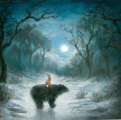 Isabella and the Bear at the moon - art by PaintedMoonGallery, etsy