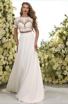>> Click to Buy <<  2017 Romantic Two Pieces Wedding Dresses Lace Crop Chiffon Sweep Train A Line Bridal Gowns Sweep Train Custom Made #Affiliate