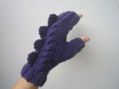 Purple  fingerless mittens dragon dinosaur or  by HotScones