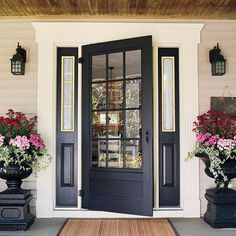 Fascinating Flowers On Black Planters On Floor Under Wall Lamps And Front Door Designs