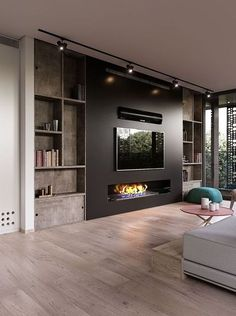 Modern and attractive TV wall design. kamin Modern and attractive TV wall design. Living Room Tv Unit, Living Room With Fireplace, Living Room Modern, Home Living Room, Living Room Designs, Living Room Decor, Tv Wall Ideas Living Room, Wall Cabinets Living Room, Modern Living Room With Wallpaper